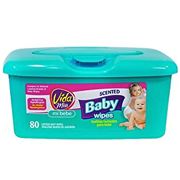 Vida Mia Scented Baby Soft Wipes. 80 Cotton Wipes in Plastic Container