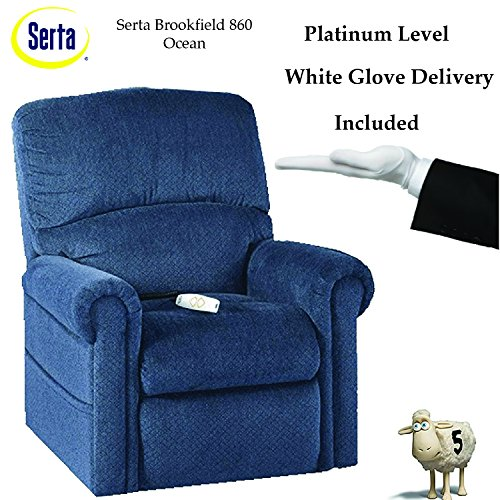 Serta Perfect Lift Chair, Model is a Wall Hugger - Plush Comfort Recliner w/ Gel-Infused Foam, LED Button Hand Control and USB Charging Port - Includes White Glove Delivery(Ocean 860)