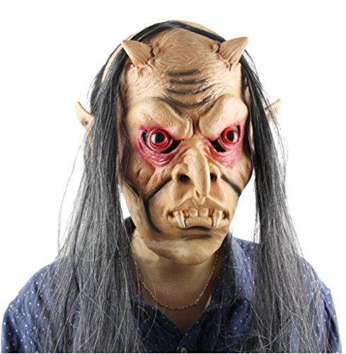 Horror Masks Scary Mask Halloween Toothy Zombie With Long Hair Devil Ghost Mask - Cheap Zombie Contact Lenses