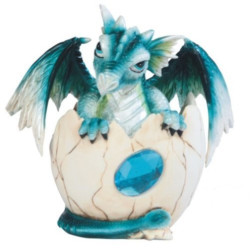 (George S. Chen Imports SS-G-71469 Blue Baby Dragon in Eggshell with Gem Figurine, 4.5