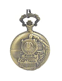 Timeconcept Bronze Tone Pocket Watch Railroad Embossed Arabic Numerals Full Hunter Steampunk Design