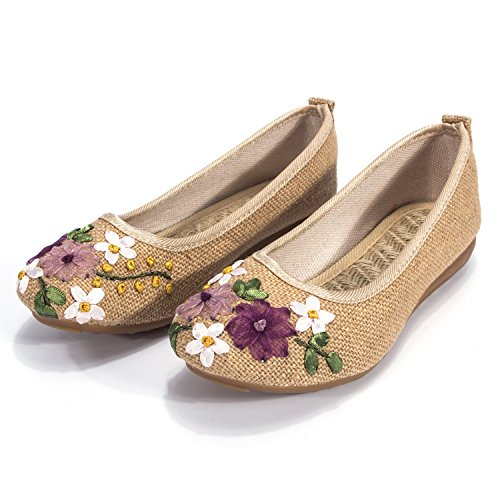 Embroidered Wedge - DODOING Embroidered Chinese Style Flats Ballet Embroidery Crafts Comfortable Slip on Women's Shoes Khaki/White/Deep Blue