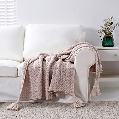 Longhui bedding Cream Fringe Chenille Knit Throw Blanket for Couch Sofa Bed with 5″ Corner Tassels, Bonus Laundry Bag – Standard 50×63″ Decorative Knitted Blankets, Off White, 2.4 pounds
