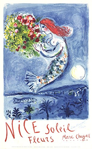 Chagall Signed Lithograph (Signed 1962 Marc Chagall Bay of Angels Lithograph)