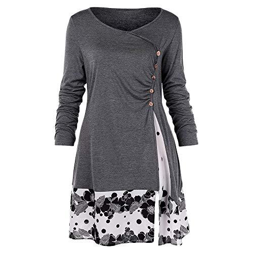KCatsy Draped Floral Tunic T-Shirt Grey (Ceramic Poppy Stand)