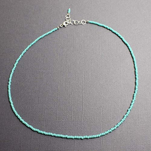 Tiny Turquoise Color Choker Necklace, Adjustable 14-15 Inches