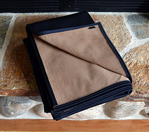 BEST 100% WATERPROOF FLEECE PET THROW DOG BLANKET; Washable, Hypoallergenic: Guaranteed Protection For Furniture & Bed Made in USA (84 x 60'')(Cappuccino POLARTEC Fleece w Black) by TETON DOG