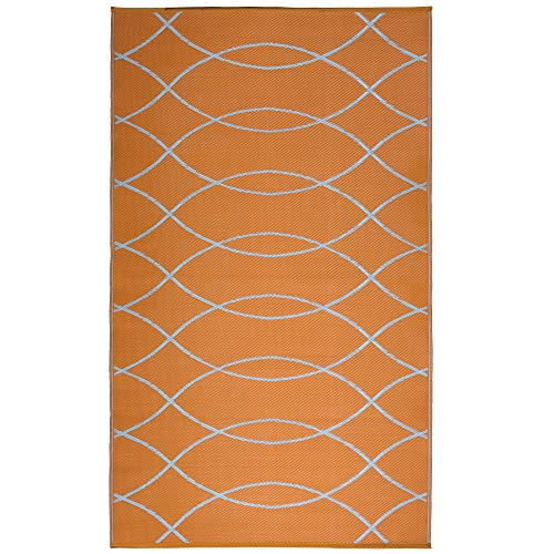 iCustomRug Inverso Outdoor Rug Collection, Reversible Plastic Area Rug 5' x 8' Anti Fade, Fade Resistant for Patio, Balcony or Beach in Orange and White (Area White Rug And Orange)