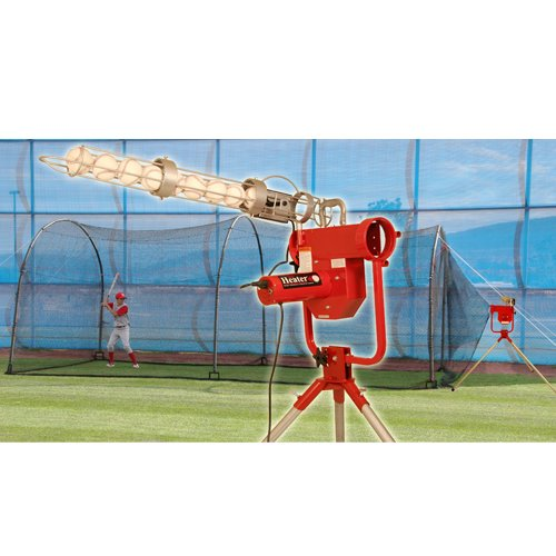 Heater Sports Pro Breaking Ball Baseball Pitching Machine With Auto Ball Feeder & Xtender 24' L x 12' W x 12' H' Batting Cage (24 Cage Home Xtender Batting)