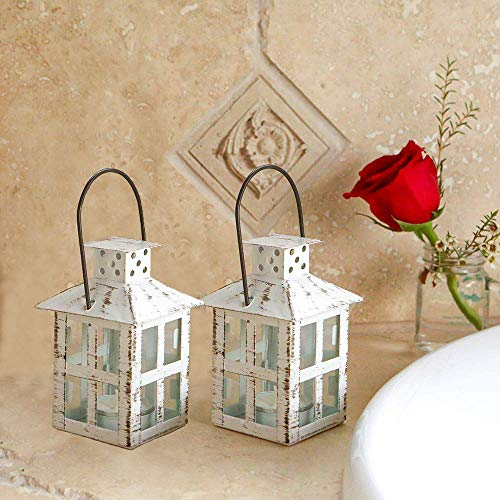 Kate Aspen Mini Decorative Candle Lanterns, Set of 6, Vintage Distressed Metal Lantern Candle Holders for Wedding Centerpiece, Home Decor and Party Favor, White ()