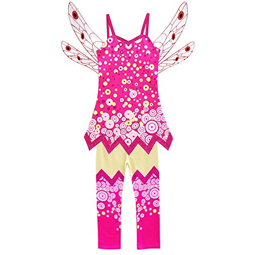 zaring Girls Summer Costume Vest Dress+Wing+Pants Sets Costume for Mia and me (red, 140 / 6-7Y(6T)) ()