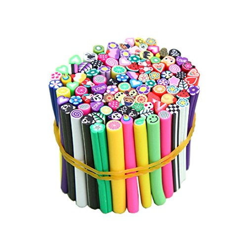 Sunsee 100pcs 3D Nail Art Fimo Canes Stick Rods Polymer Clay Stickers Decoration DIY