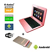G-Anica® Chromebook 10-inch Full-HD Laptop (WIFI, Webcam, Dual-Core,512MB RAM, 4GB ROM, HD 800 x 480) with Android 4.4.2 Netbook-Pink+ Laptop bag