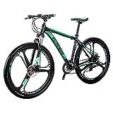 Eurobike EURX9 Mountain Bike 21 Speed 3-Spoke 29 Inches Wheels Dual Disc Brake Aluminum Frame MTB Bicycle (Blackgreen)