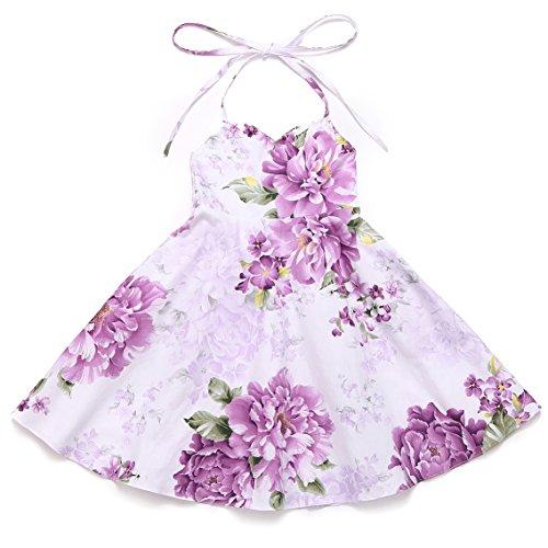 Vintage Girls Dress Summer Birthday Party Holiday Toddler Dress (5, Purple 2) (Vintage Floral Summer Dress)