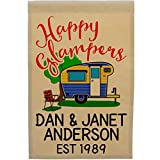 Cheap Happy Glampers, Personalized Vintage Camper Campsite Flag, Customize Your Way, Flag Only (Blue/Yellow Camper)