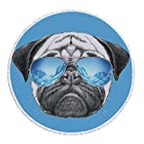 iPrint Thick Round Beach Towel Blanket,Pug,Pug Portrait with Mirror Sunglasses Hand Drawn Illustration of Pet Animal Funny,Pearl Blue Black,Multi-Purpose Beach Throw