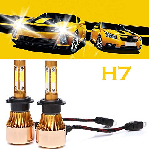 H7 LED Headlight Bulbs 6500K White 4-side of Super Bright LED Chips High Low Beam 200W 20000LM -2 Year Warranty (2 Pcs)