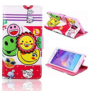 QYF 20150511 Sunflower Smile Pattern PU Leather Full Body Case with Stand for Samsung Galaxy Note 4