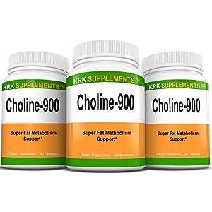 3 Bottles Choline Bitartrate 900mg Per Serving 270 Total Capsules KRK Supplements