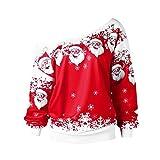 SamMoSon Women Christmas Santa Claus Print Skew Collar Sweatshirt Blouse