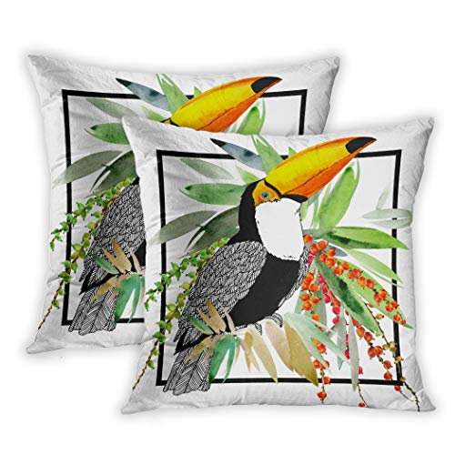 Lichtion Set of 2 Throw Pillow Covers Print Toucan Illustration Exotic Bird Watercolor Tropical Plant Background Decorative Soft Bedroom Sofa Pillowcase Cushion Couch 20 x 20 Inch