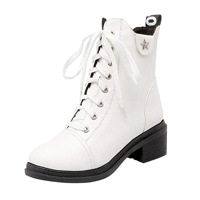 Mymyguoe Zapatos Invierno Mujer,Mujeres Planas Botines Cortos con Cordones Moto Zapatos Militares Movimiento Estilo BritáNico Black Friday Botas Zapatos ...