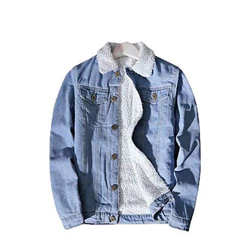 YOUMU Men Fleece Fur Lining Denim Jacket Winter Tehermal Collared Parka Outwear (L(US S), Light Blue) (Sherpa Denim)
