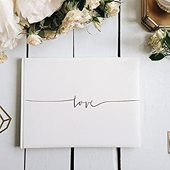 off white wedding guest book love in gold letters 24 x 185cm