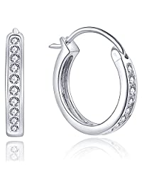 Hoop Earrings-YL Women's Sterling Silver Cubic Zirconia Channel-Set Medium Round Huggie Earrings