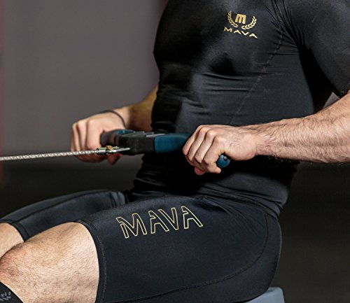 MAVA Men's Compression Shorts - Performance Tights for Workout, Running & Sports (Large, Black & Gold)