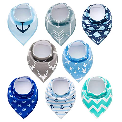 PandaEar Baby Bandana Drool Bibs 8 Pack for Drooling and Teething, Super Absorbent Hypoallergenic, Neutral Color for Boys & Girls ()