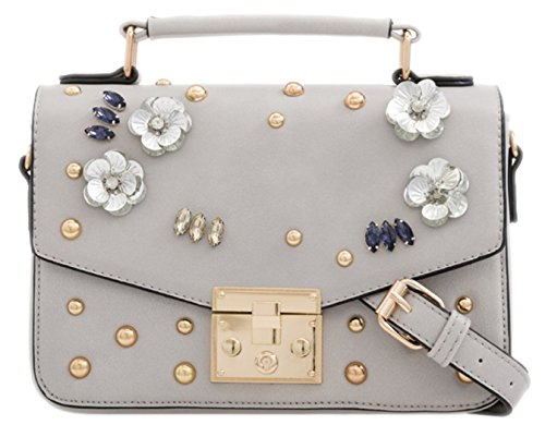 Satchel Grey HandBags Flowers Gemstones Girly HandBags Girly Mini Oxg88v