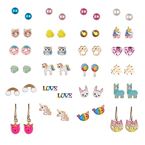 24 Pairs Multiple Hypoallergenic Earrings Set for Little Girls, Made with Stainless Steel, Kids Colorful Cute Unicorn Earrings (Color-2) (Sets Earring Kid)