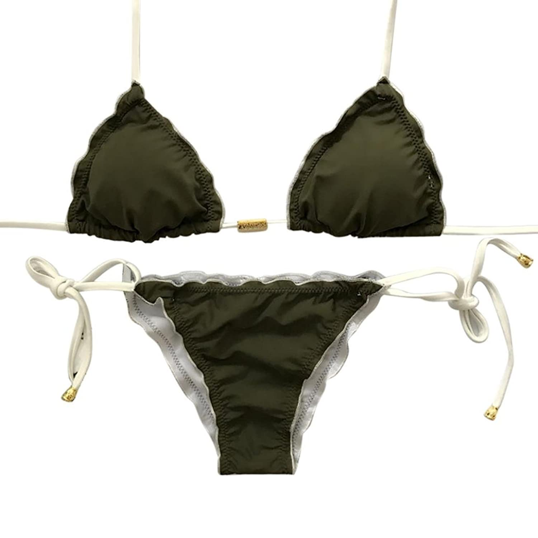 61d96ffd1ef5e Beste HCFKJ 2018 Mode Damen Bikini Set Bademode Push-Up gepolsterte feste  Bandage BH Badeanzug