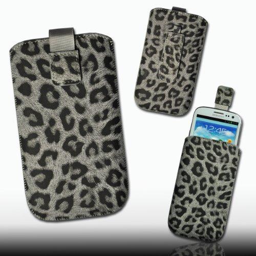 Handy Tasche Etui Hülle Wild Kunstleder grau / schwarz Leo5-2 für Apple iPhone 5 / iPhone 5S / iPhone 5C