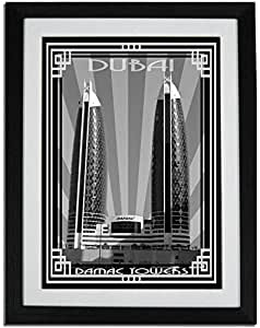 Photo of Damac Tower-Black And White With Silver Border F01-NM (A3)