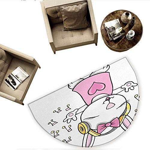 Kids Half Round Door mats Cute Rock Star Rabbit Bunny with Speakers Music Notes Girls Humor Heart Cartoon Bathroom Mat H 55.1