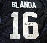 "OAKLAND RAIDERS GEORGE BLANDA AUTOGRAPHED BLACK JERSEY ""HOF 81"" PSA/DNA STOCK #15927"