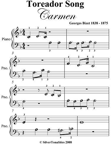 Toreador Song Carmen Beginner Piano Sheet Music ()