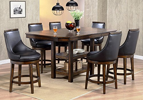 1PerfectChoice New Heaven 7 pcs Counter Height Dining Set Dining Table Shelves Swivel PU Chairs