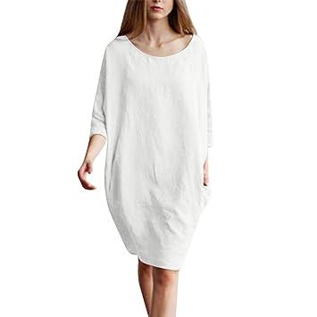 Sikye Women 1/2 Sleeved Linen&Cotton Plus Size Dress Casual ...