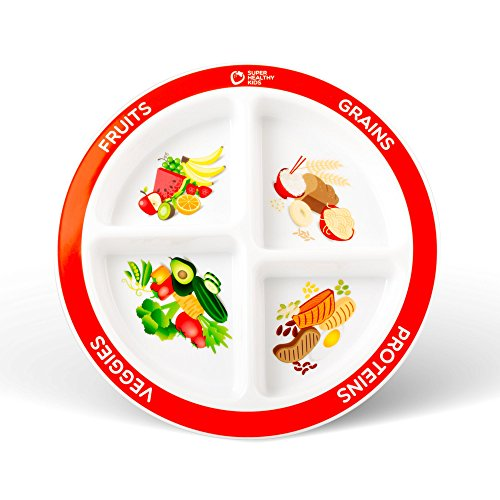 MyPlate Divided Kids Portion Plate, 4 Fun & Balanced Sections for Picky Eaters (Fruits Plate)
