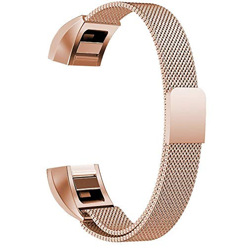 Baoking Compatible with Fitbit Alta Watch Strap, Stainless Steel Metal Loop Bracelet Adjustable Bands Replacement for Fitbit Alta & Fitbit Alta HR (Small,Rose Gold)