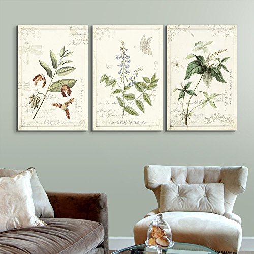 3 Panel Vintage Style Plant Leaves and Flowers x 3 Panels