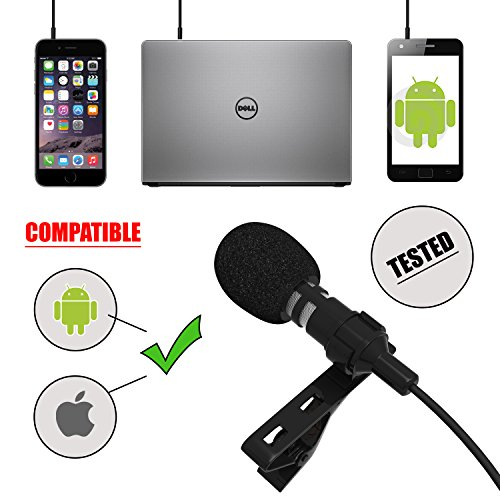 Professional Lavalier Lapel Microphone for Apple iPhone, iPad, Android Smartphones, Tablets. Precision Sound Voice Recorder with Clip-On