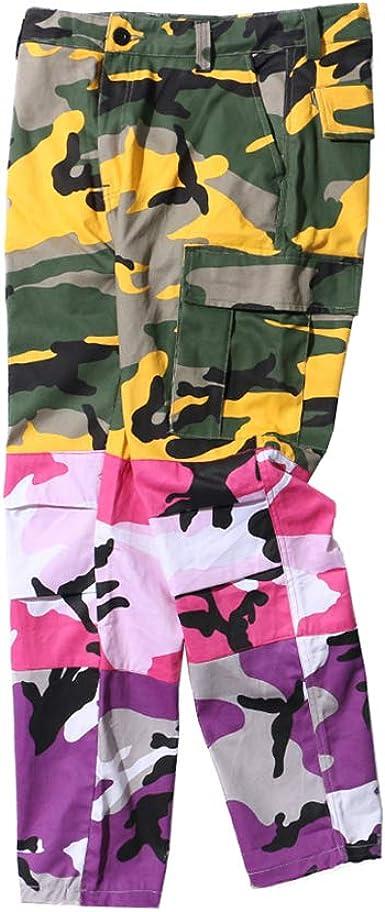 Yying Tri Color Camo Patchwork Cargo Pantalones Hombres Mujer ...