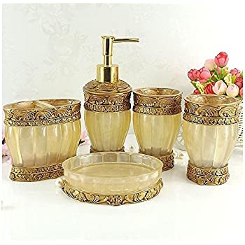 Vintage Golden Bathroom Accessories, 5Piece Bathroom Accessories Set, Bathroom  Set Features , Soap Dispenser, Toothbrush Holder, Tumbler U0026 Soap Dish ...