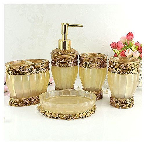 Vintage golden bathroom accessories 5piece bathroom for Gold bathroom accessories sets