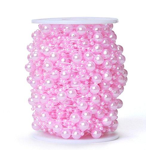 Worldoor 200 Feet Roll Pink Wedding Pearl String Party Garland Centerpieces Bridal Bouquet Decoration/Pink Pearl Garland Beads Garland Wedding Centerpiece